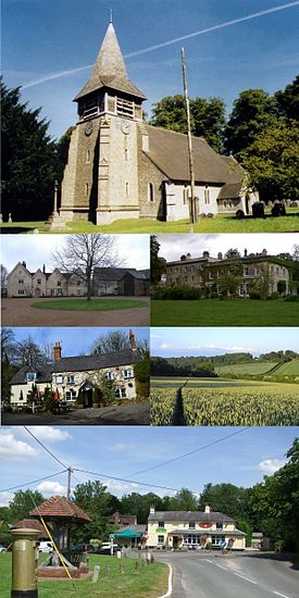 A montage showing key places in Bentworth. Clockwise from the top; St Mary's Church, Thedden Grange manor, farmland and hills near Childer Hill, Bentworth village centre (with the Star Inn, gold postbox and mini-roundabout in the distance), the Sun Inn, and Hall Place manor
