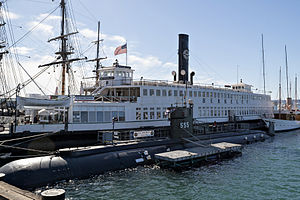 Berkeley Ferry and U.S.S. Dolphin at the Maritime Museum of San Diego.jpg