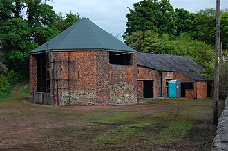 Bersham Ironworks - The octagonal building is where the casting of cannon took place, as well as the iron production for them