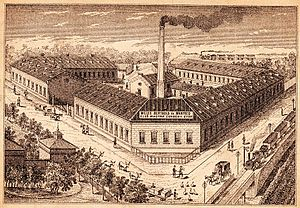 Manfréd Weiss Steel and Metal Works - A 1880 view of the canned food factory at Csepel, which in time became the core of the Manfréd Weiss Steel and Metal Works