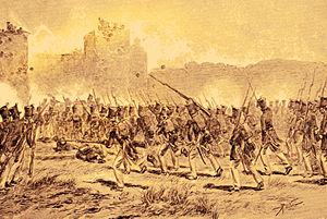 Plered - Bestorming van Pleret (1900) by G. Kepper, depicting the Dutch assault on Plered in 1826.
