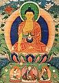 Bhaisajyaguru (the Medicine Buddha) and Padmasambhava (below Wellcome V0018274 (cropped).jpg