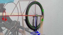 Datei:Bicycle precession experiment, tilted bike.ogv