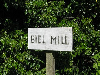 Biel, East Lothian - Image: Biel Mill Sign