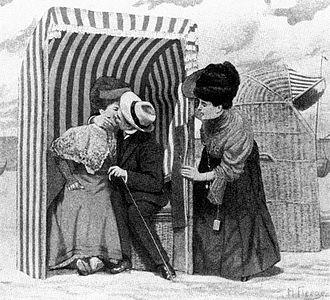 Strandkorb - A postcard of 1900 depicting a strandkorb