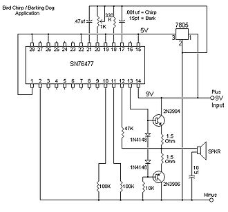 Texas Instruments SN76477 - Redraw of 76477 application for barking dog