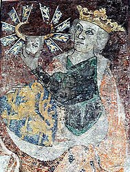 King Birger of Sweden. Limestone painting