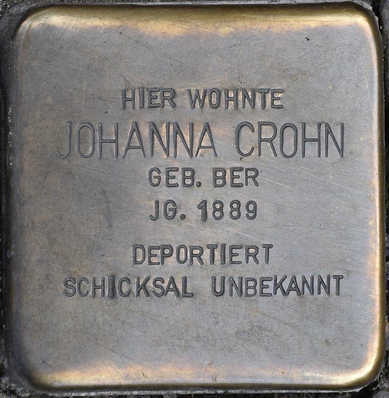 Blankenburg (Harz), Tränkestr. 21 Ecke Lange Straße, Stolperstein Johanna Crohn