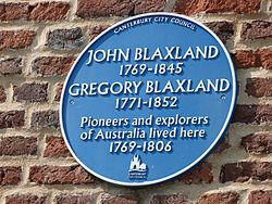 Photo of John Blaxland and Gregory Blaxland blue plaque