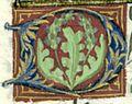 BnF Lat 4915 Mare historiarum 037v Lettre ornée d'acanthe, feuillage des Jouvenel.jpg