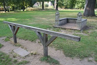 Bar (law) - The wooden bar in front of the magistrate's bench in an 18th-century outdoor courtroom from Belgium