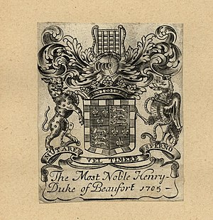 Duke of Beaufort - Image: Bookplate Henry Duke of Beaufort