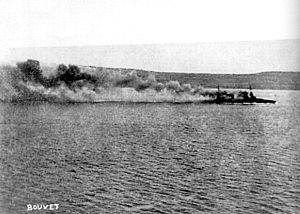 French battleship Bouvet sinking