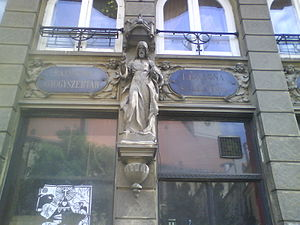 Pharmacy Salvator - The facade of Pharmacy Salvator features the stone statue of Christ the Saviour by Alojz Rigele from 1904