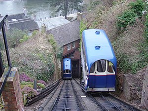 Bridgnorth Cliff Railway - Bridgnorth Cliff Railway carriages viewed from above