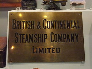 British & Continental Steamship Company Limited nameplate, Merseyside Maritime Museum.jpg