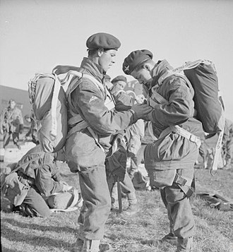 Operation Fustian - British paratroopers, before taking part in a practice parachute jump in April 1944.