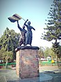 Bronze statues of Swahid Kanaklata and Mukunda Kakati in front of Gohpur police station where they were shot dead.jpg