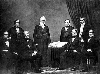 Presidency of James Buchanan - President Buchanan and his Cabinet From left to right: Jacob Thompson, Lewis Cass, John B. Floyd, James Buchanan, Howell Cobb, Isaac Toucey, Joseph Holt and Jeremiah S. Black, (c. 1859)