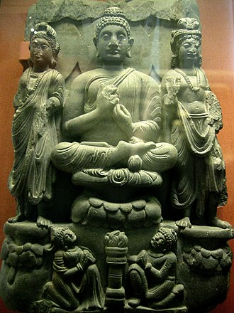 History of meditation - Buddha sitting  Lotus position with hand mudras, 3rd century.