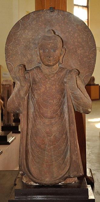 Mathura art - A Mathura standing Buddha, Mathura Museum