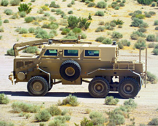 wheeled mine resistant ambush protected (MRAP) armored vehicle built by Force Protection Inc.