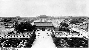 Gate of China, Beijing - The gate of China in the 1900s, viewed from Zhengyangmen Gate (Qianmen Gate), with Tiananmen Gate and the Forbidden City in the background.