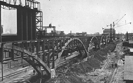 IG Farben synthetic oil plant under construction at Buna Werke (1941). This plant was part of the complex at Auschwitz concentration camp. Bundesarchiv Bild 146-2007-0066, IG-Farbenwerke Auschwitz.jpg