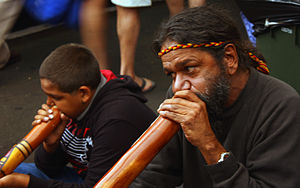 Indigenous music of Australia - Buskers playing didgeridoos at Fremantle Markets, 2009
