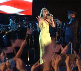 "Celine Dion - Dion performing ""God Bless America"" with members of the Band of the US Air Force Reserve, 2002"