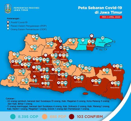 File Covid 19 Location In East Java 2 April 2020 Png Wikimedia Commons