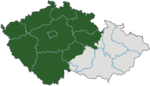 Bohemia (green) within the Czech Republic today.