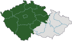 Bohemia  (green)  in relation to the current regions of the Czech Republic