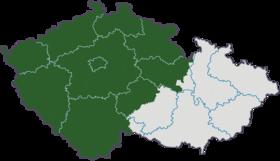 Localisation de la Bohême (en vert) en République tchèque.