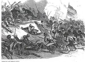 1st Louisiana Native Guard (United States) - A depiction of the death of Andre Cailloux in battle. Cailloux can be seen with his sword raised. This portrayal places Cailloux and his men much closer to the Confederates than they were. From Frank Leslie's Journal, June 27, 1863.