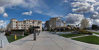 Cupertino, California - Cali Mill Plaza containing the Cypress Hotel and various restaurants
