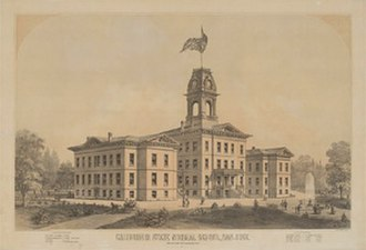 San Jose State University - An 1880s lithograph of the original California State Normal School campus in San Jose.