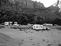 Camper use of overflow area, South Campground overcrowding group area. ; ZION Museum and Archives Image ZION 9244 ; ZION 9244 (cd376638a4844215a05c068b9ea60e0b).jpg