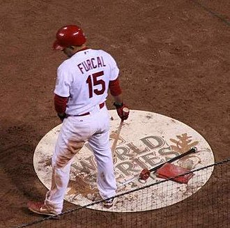2011 St. Louis Cardinals season - Rafael Furcal, traded to the Cardinals on July 31, awaits his turn at bat in Game 7 of the 2011 World Series