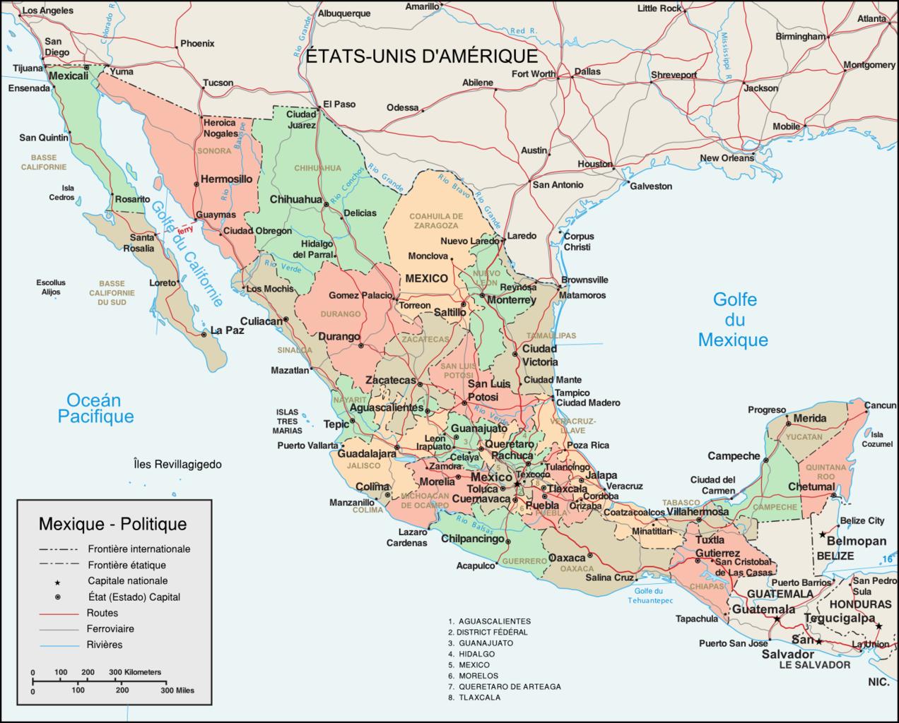 Carte Mexique Avec Ces Villes Prin Cipales