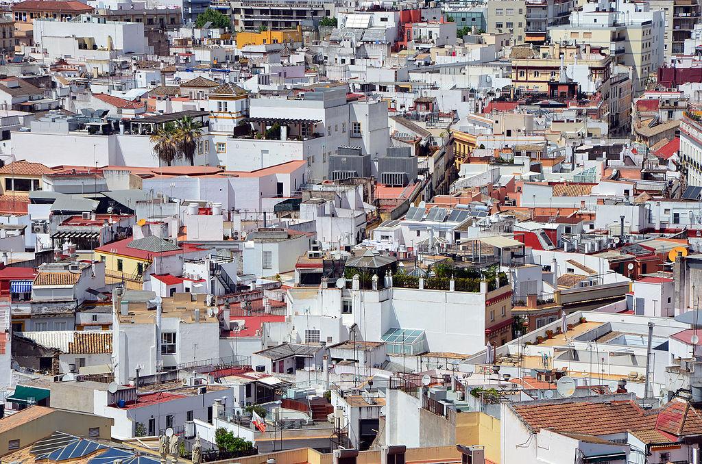 Vue sur la Vieille Ville de Séville depuis la Giralda, la tour de cathédrale.