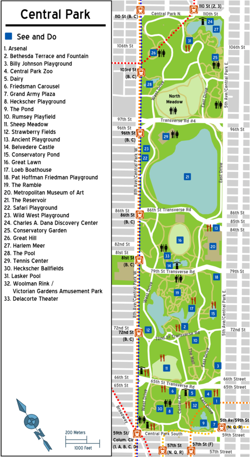 Karte Central Park map (New York City)