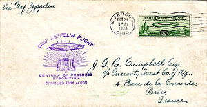 Century of Progress - Cover carried on the Graf Zeppelin from 1933 Century of Progress Exposition franked with C-18 US Air Mail stamp issued for the airship's visit.