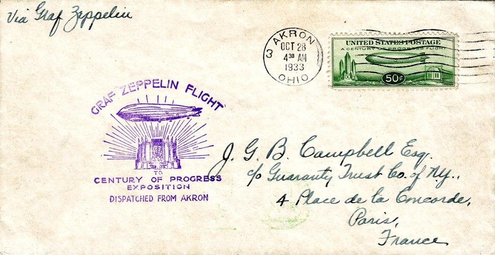 Century of Progress Graf Zeppelin Flight Cover