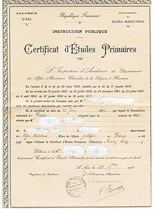 certificat de scolarite primaire