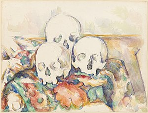 Pyramid of Skulls - Paul Cézanne. Three Skulls, 1902-1906, graphite and watercolor on paper. Art Institute of Chicago.
