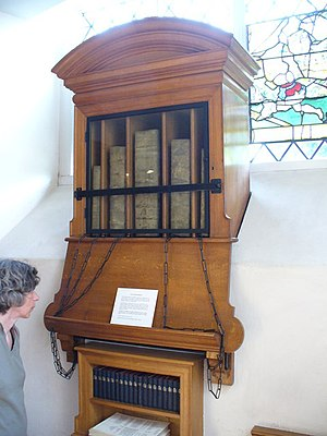 """Chained library - Chained Library, Chelsea Old Church. Unique in London churches, a mediaeval library, containing a """"vinegar bible"""" of 1717. These were a gift of Sir Hans Sloane."""