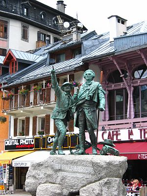 Horace-Bénédict de Saussure - Horace-Bénédict de Saussure monument at Chamonix. Beside him is Jacques Balmat.