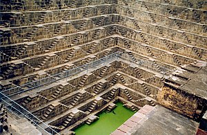 Stepwell - Chand Baori, in the village of Abhaneri near Bandikui, Rajasthan, was featured in the movies Paheli and The Fall.