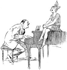 Caricatura che descrive un'esecuzione di una canzone.